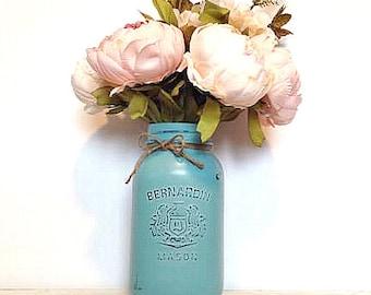 1 CUSTOM Quart Size Mason Jar- You Choose Color