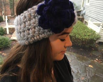 Hand Crochet Earwarmer Headband, Flower, Rose, Gray, Blue