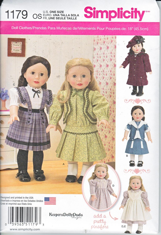 Einfachheit 1179 historische Puppen Kleidung 18 Kleid