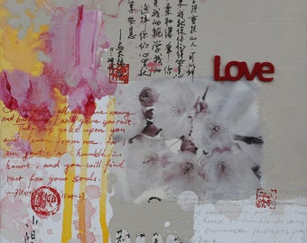 Love,abstract art print, poster, floral, Limited edition Giclee print,collage,bible,personally signed by the artist Xiaoyang Galas