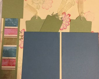 Floral  Pockets 12 x 12 Premade Scrapbook Pages