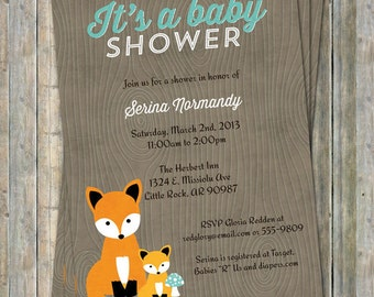 fox baby shower invitation, woodland fox baby, Digital, Printable file gender neutral