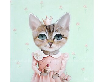 cat, cat print, cat gifts, pictures for kids, cat painting, cat pictures, animal paintings, whimsical animal art, girl art kids illustration