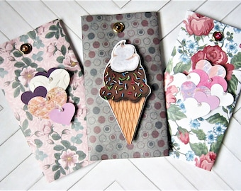 Gift Card Holder, Money Holder, Cash gift, Gift card pouch, Birthday, Graduation, dimensional, flowers, ice cream cone, up cycled, set of 6