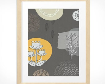 Mid Century Modern Scandinavian style hand drawn nature print in beige yellow and warm greys INSTANT DOWNLOAD