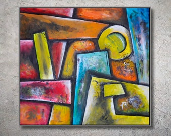 Abstract Painting, Large Wall Art Original Painting on Canvas FREE SHIPPING