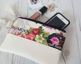 Pink Green Paris Wallet- Wristlet Wallet - Womens Wallet - Faux Leather - Small Crossbody - Phone Wallet - Wristlet Purse - Paris Print