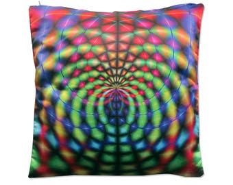 Psychedelic cushion cover 'Rainbow Web'. Colorful, trippy home decor. 20 inch throw pillow cover. Trippy pillow cover, scatter cushion.