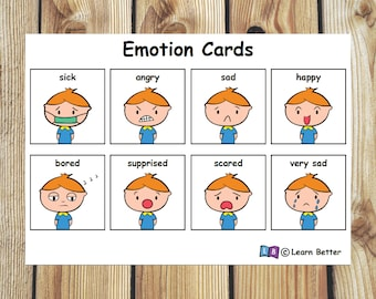 Emotion and Solution Cards for Boys/ Visual Aid/ Communication Aid/ Autism PECS/ pre-school learning / PECS Printable