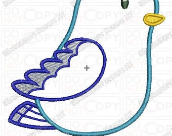 Blue Cartoon Bird Applique Embroidery Design in 4x4 and 5x7 Sizes