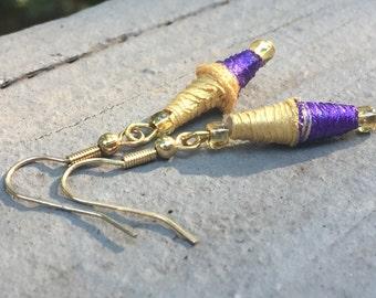 Handmade Paper bead earrings, hippy earrings, paper earrings, LSU earrings,