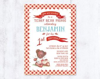 Teddy Bear Picnic - Birthday Party Invitation - Custom Printable, Baby, Toddler, Boy, Neutral, Red, Blue