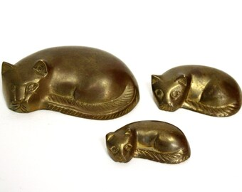 Set of Three Brass Sleeping Cat Figurines