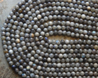 6mm Labradorite Semi-Precious Round Polished Beads, Full Strand of Half Strand (N3-IND1C575)