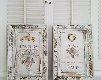 Awesome SET OF TWO French Wall Decor Framed Paris Wall Hanging French Country White  Distressed Hand Painted