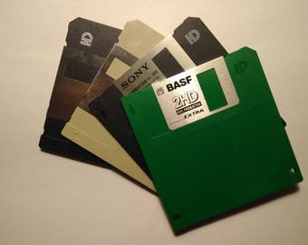 "3.5"" Floppy Diskettes: black, green, gray and black"