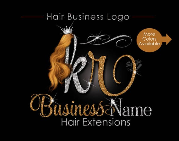 Hair Extensions Business Logo, Glitter Logo, Honey Gold Hair Logo, Custom Strands Logo, Hair Bundle Logo, Crown Logo, Hair Packaging Logo