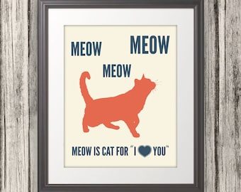 Meow is Cat for I Love You, Cat Print, Cat Art, Cat Poster, Cat Quote - 11x14