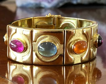 Bruno Guidi 18 Karat Gold Multi-Cabochon Bracelet