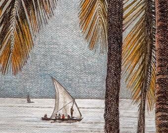Dhow Original Art, Tropical Beach Art, Palms Painting, Africa Original Art, Beach Wall Art, Sailboat Art, Palm Trees Art, Pastel Painting