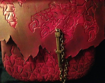 Leather Dragon Bag Purse Hand Tooled