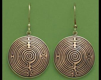 SHEPHERDS RACE LABYRINTH- Bronze- Earrings