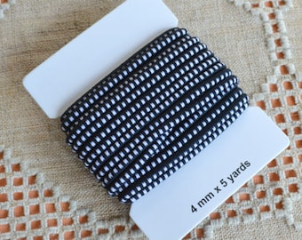 5 Yards Black White Cord 4mm Stretch Elastic Rubber And Nylon Card