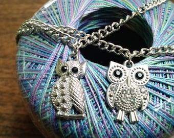 Silvertone owl charm necklace