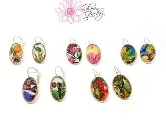 Black friday sale, Cyber monday sale, Gardening earrings, Botanical earrings, one of a kind, Floral earrings, Illustrated earrings