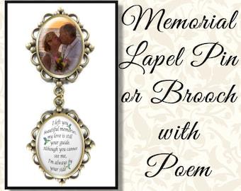 Custom Memorial Wedding Brooch, Bouquet Charm, Bride's Keepsake, Wedding Shower,  Memorial Wedding Pin, Two Poem Options Bridal Bouquet Pin