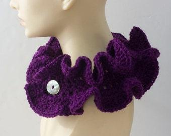 Purple Ruffle Neckwarmer,  Crocheted Scarf  Flower Button Closure,  Vegan Cowl Scarf, Ruffle Collar