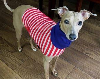 "Italian Greyhound Sweater. ""Red and Gray Stripe Sweater"" - Italian Greyhound Sizes"