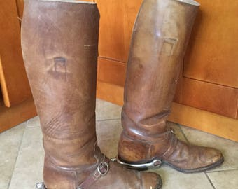 Vintage Riding Boots with Spurs