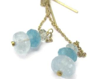 Aquamarine Threader Earrings, Gold Chain Earrings, Blue Gemstone, March Birthstone