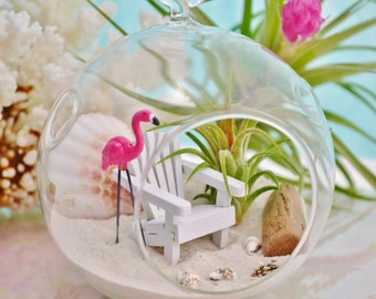 Beach Terrarium Kit ~ Small Air Plant Terrarium Kits ~ Adirondack Beach Chair ~ Pink Flamingo Terrarium ~ Coastal Living Beach Decor ~ Gift