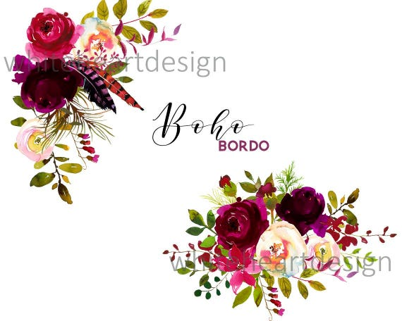 Boho bordo watercolor clipart burgundy white red flowers boho bordo watercolor clipart burgundy white red flowers feathers deer scull horns antlers wedding clipart floral bouquets sprays png mightylinksfo Choice Image