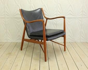 Finn Juhl 45 Teak Frame Chair by Baker NEW LEATHER Upholstery Mid Century Modern Retro 50's 60's NV Niels Vodder Danish Denmark