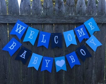 Welcome baby banner. Baby boy banner. Baby shower banner. Welcome baby boy. Blue baby shower decor.