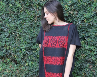 Black with red embroidery Huipil Dress Handwoven