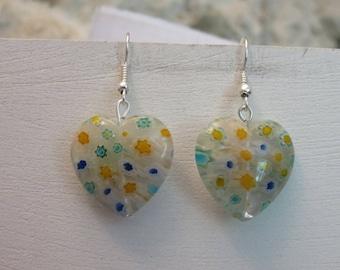 Murano style heart earrings