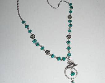Set Peacock green Crystal on chain silver necklace