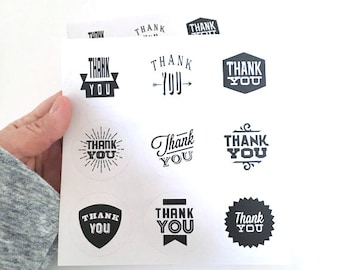 18 thank you sticker - thank you label - favor sticker - wedding round thank you sticker - wedding favors - envelope seals - circle