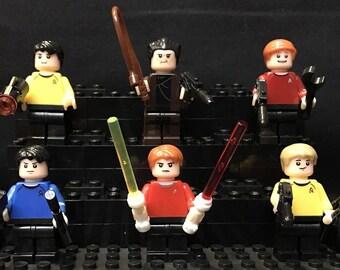 Classic Star Trek Minifigures + Stands Mini Figure Captain Kirk Spock USA Fast!