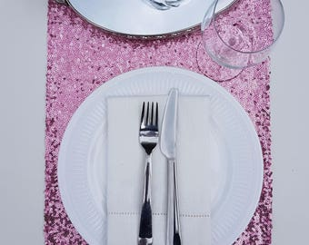 Rose Pink Sequin Table Runner
