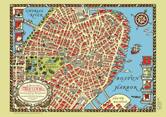 Boston Downtown 1920 Map Poster Vintage Charles River North