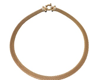 14k Yellow Gold Mesh Choker Necklace