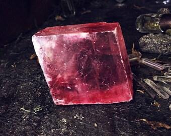 Calcite- Pink Crystals-Optical calcite-Protection- Prism-Medium Speciman