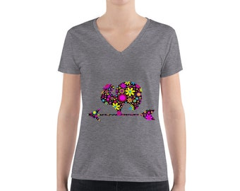 Women's Fashion V-neck Floral rooster tee