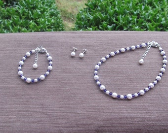 Flower Girl Jewelry White Swarovski Pearls and Purple Velvet Crystals Bridal Jewelry Set