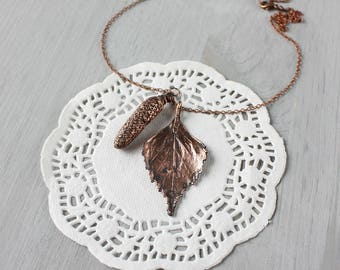 Leaf necklace - pendant -  Birch tree - copper - seeds - botanical -  jewelry - gift -  for woman - woodland - nature - leaves